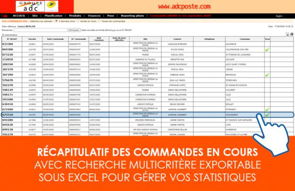 Extranet et reporting tableau récapitulatif des commandes