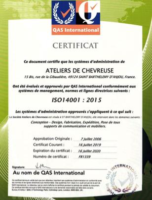Ateliers de Chevreuse est certifiée iso 14001:2015